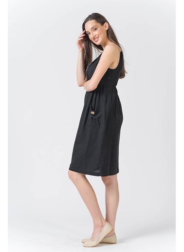 Reyon Askılı Cepli Keten Elbise Haki Siyah